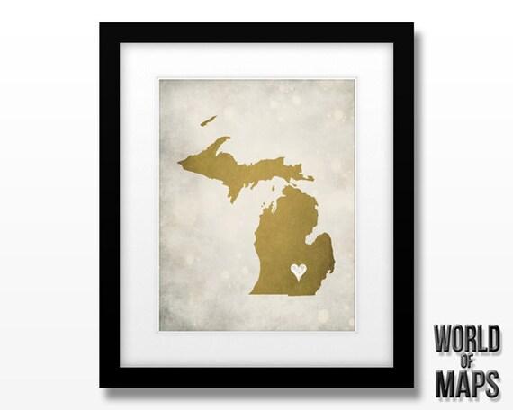 Michigan Map Print - Home Town Love - Personalized Art Print