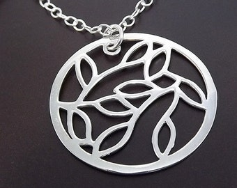 Sterling Silver Necklace - Willow Leaf Circle Pendant