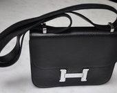 Hermes Constance style black handbag
