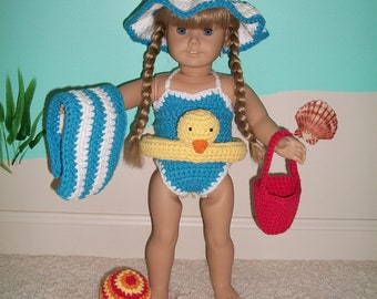 "Crochet Pattern - American Girl Fun in the Sun Beach Outfit for 18"" Doll - Swimsuit and Accessories"