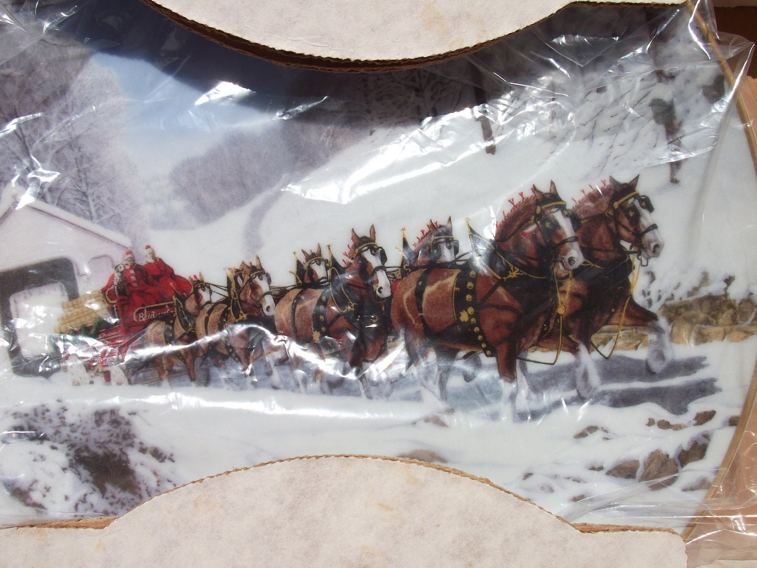 1989 budweiser clydesdales holiday plate by alookbackvintage