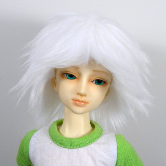 BJD Fur Doll Wig in Solid White