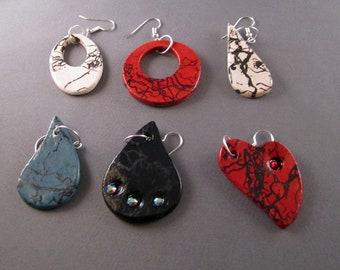Custom Raku Horsehair earrings