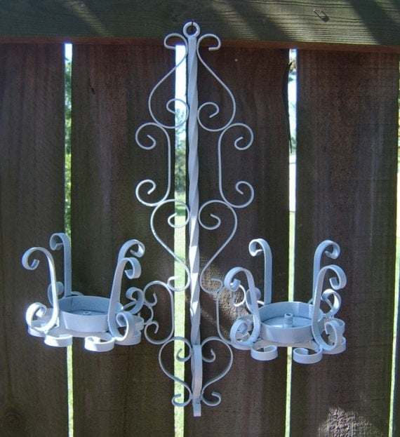 Vintage  White  Wall Sconce, Scroll metal, Garden Decor, Rusted, Chippy White, Wrought Iron