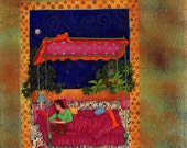 Original Watercolor Painting with girl in the moonlight with teddybear- bright colors