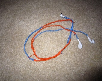 Orange and Blue Wrapped Headphones