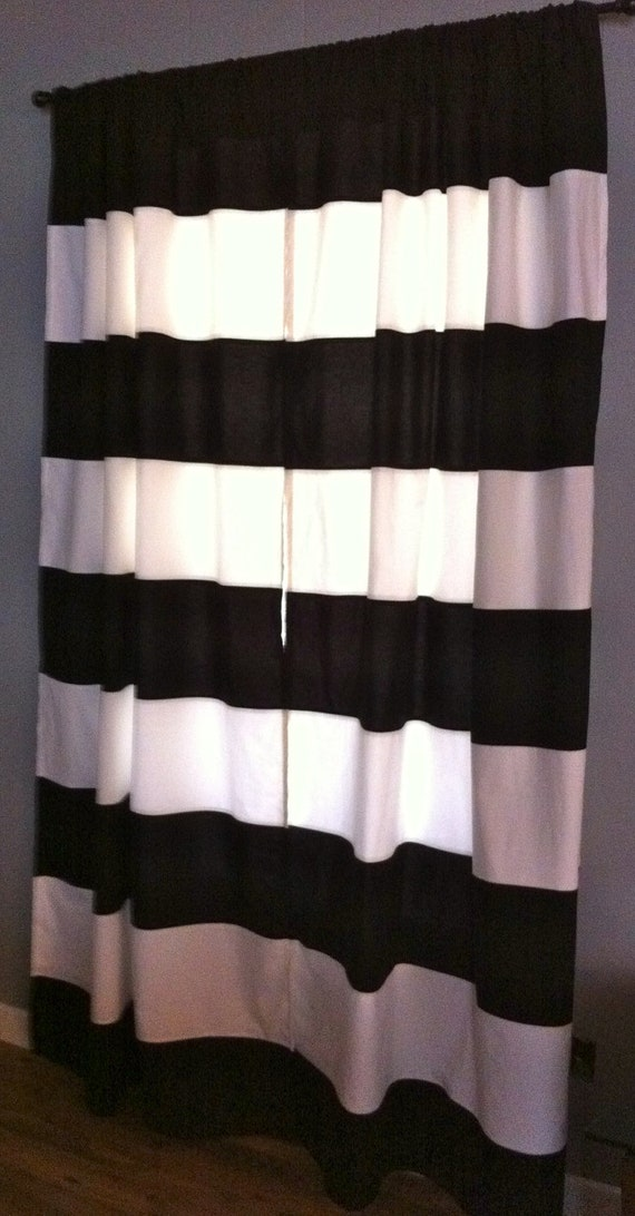 Horizontal Black And White Striped Curtains Rooms with Black and Whi