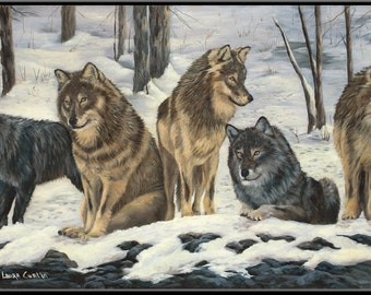 "Paws for the Moment 18"" x 9"" Wolf Pack in the Snow Print"