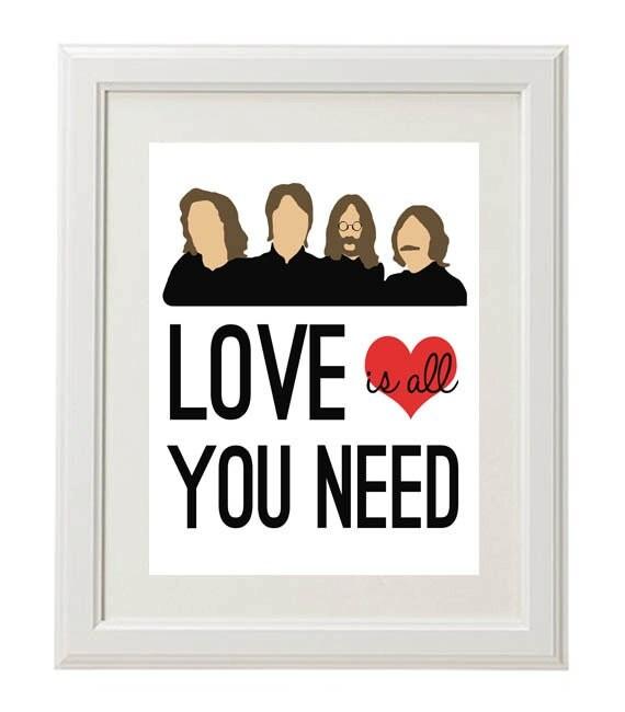 Beatles Lyric digital Print, Love is all You Need