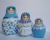 A Set of Blue Soft Matryoshkas (cloth Russian babushka dolls)