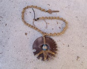 Peace in the Wasteland- Hemp, Rubber, Metal and Plastic Bead Necklace with Yale Key Clasp