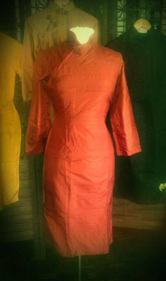 Vtg Deadstock silk Rust shantung atomic Wiggle Dress L 50s 60s Day Dress