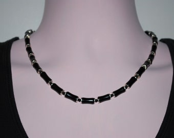 Mens Silver Plated and Black Onyx Necklace