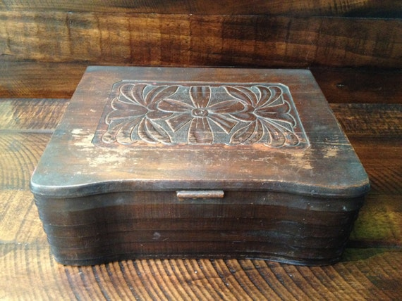 Vintage Box/Wood Chest - carved floral design with scalloped edges
