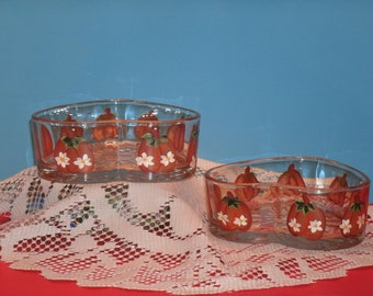 PUMPKIN CANDY DISHES, heart shaped, set of two