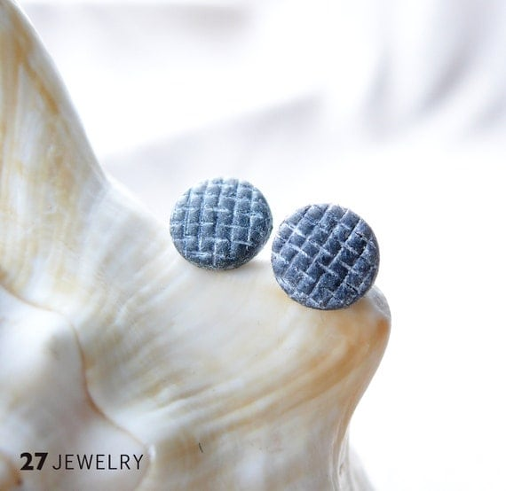 Grey and White Grating Polymer Clay Post Earrings