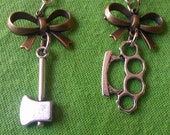 CLEARANCE: HARD FEMME Silver and Bronze Dangle Earrings Bows Axe and Brass Knuckles