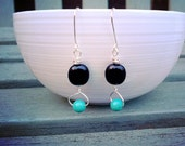 Black and turquoise beaded dangle earring with silver wire wrapping