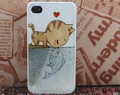 cat heart fish  iPhone 4 case iphone 4 cases iPhone 4s case iPhone cases  iphone cover personalized hard plastic iPhone case