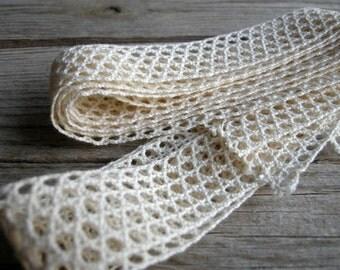 3 meters / Cotton Crochet Lace Trim / Beige cream colour