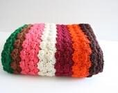 Crochet Afghan, Vintage Crochet, 1970s Vintage, Crochet Blanket, Brown Orange Green Pink Burgandy