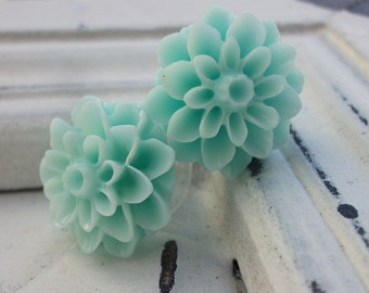 Mint blue Mum Earrings