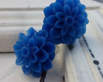 Indigo blue Mum Earrings