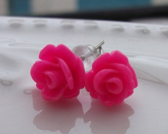 Mini Hot Pink Rose Earrings