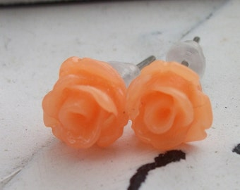 Mini Cantalope Rose Earrings
