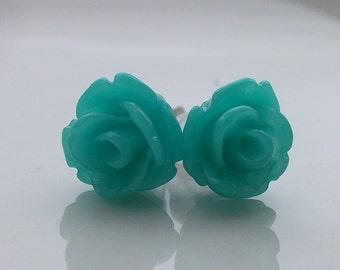 Mini Teal Rose Earrings