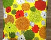 Custom Listing for Bee-  Vintage Cloth Napkin Throw Pillow- Retro Flowers, Green, Orange, Yellow, 1960's, Repurposed Cloth Napkins Pillow