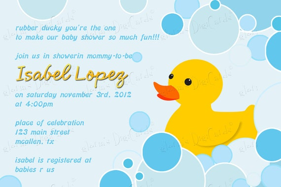 Rubber Ducky Baby Shower Invitation by Gloria's Digi Cards