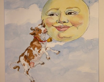 The Cow Jumped Over the Moon (Wall art, classic children's nursery rhyme painted in watercolor).