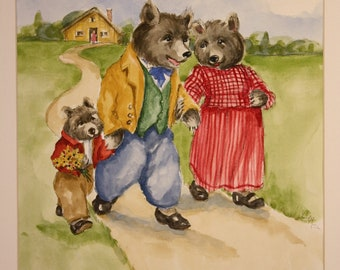 The Three Bears (classic children's nursery rhyme painted in watercolor)