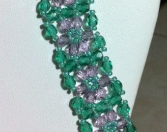 Green & Purple Daisy Bracelet