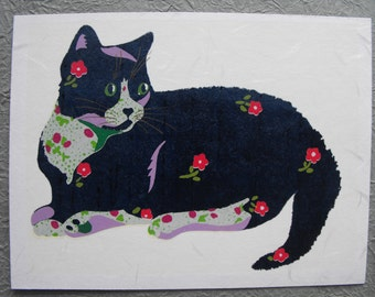 Original, hand pulled, screen print on Japanese paper, Kitten, 4.75 X 6.25,