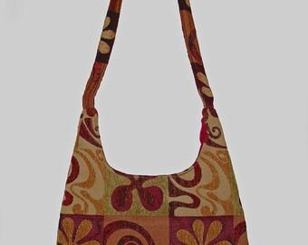 Autumn Cross Body Bag/ Messenger Brown, Gold, Burgundy, Orange, Green with Flower Print.