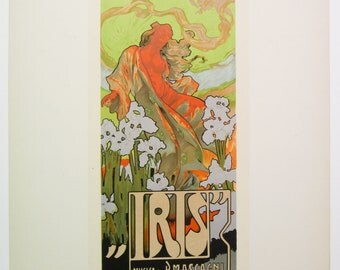 A. Hohenstein, Original Maitres de L'Affiche Poster, Italy 1899, Plate No.180. Ad for Opera production of IRIS at the Scala in Milan.