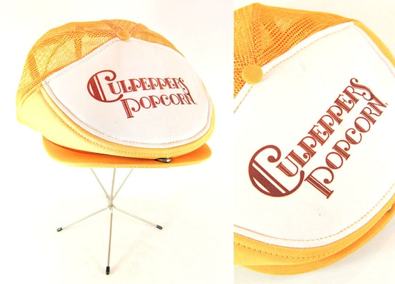 Vintage 1970s Culpeppers Popcorn Adjustable Snapback Mesh Back Trucker Style Driving Flat Cap in Canary Yellow