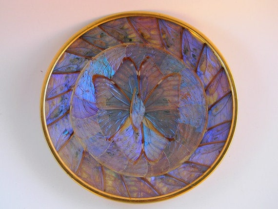 Vintage Brazilian blue morpho butterfly wing collectable plate