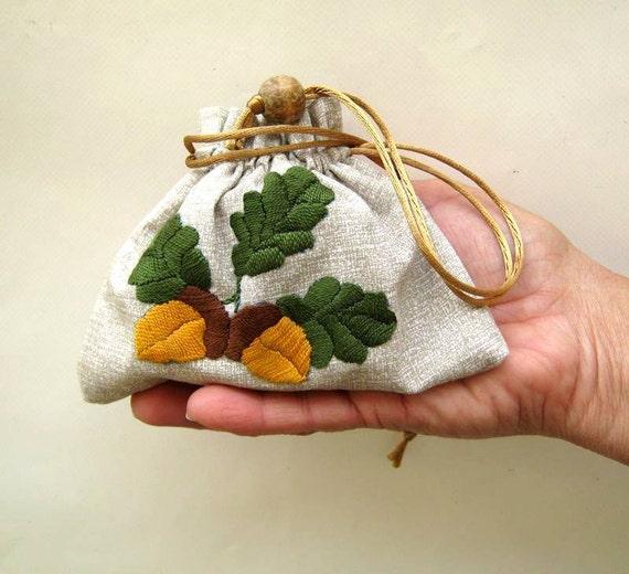 handmade embroidered gift bag, autumn feeling