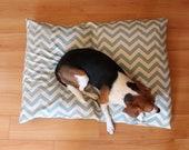 Dog Bed Cover, Chevron, Blue, Off White, Medium/Large