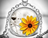Flower Pendant - Flower Necklace - Flower Jewelry - Yellow Sunflower
