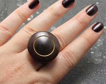 Outta This World - Natural Handcarved Rosewood Ring