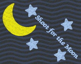Shoot For The Moon Machine Embroidery Design-Stars and Moon-Large