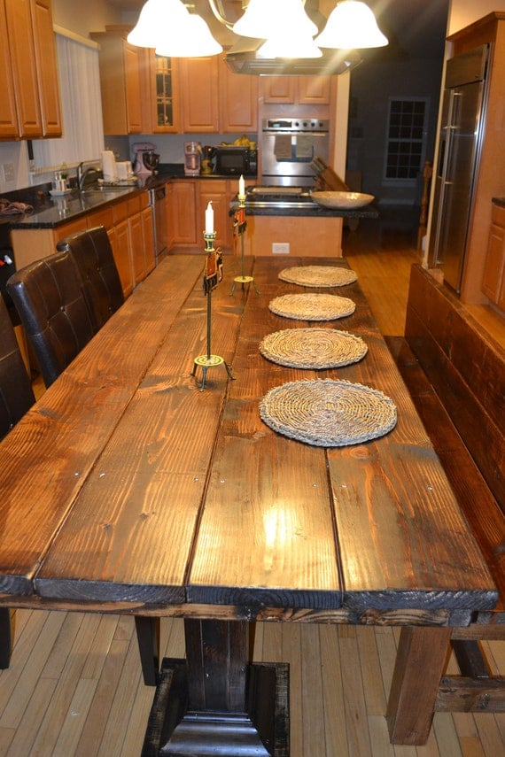 Items similar to handmade rustic wood dining table set on Etsy