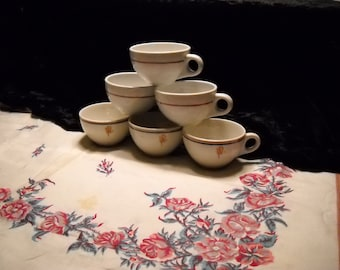 Vintage Restaurant Coffee Cups(6)