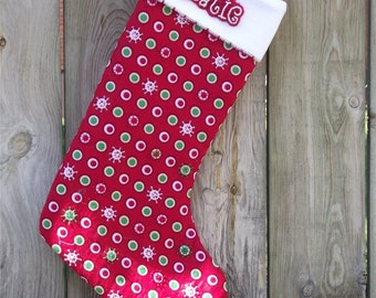 Quilted Christmas Stocking with Hand Beading - free shipping in North America