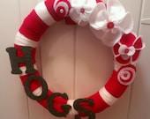 Arkansas Razorbacks yarn wreath, felt flowers, glitter wood letters, College, Sports