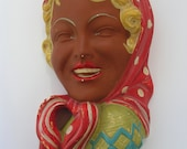 Ceramic wall hanger of the fifties - Girl with headscarf